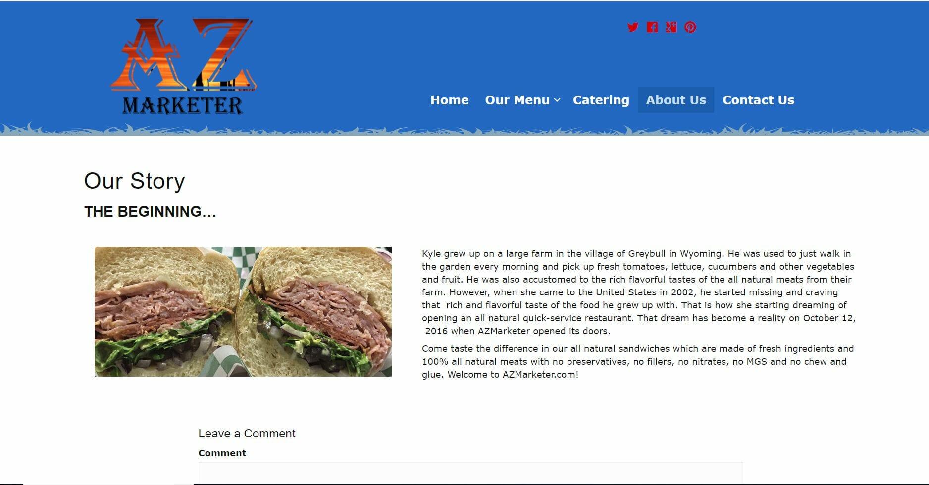 website design sandwich shop